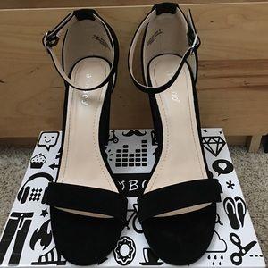 Ankle Strap Suede Block Heel